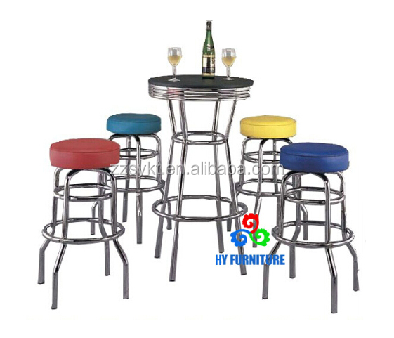 High end bar furniture metla pipe frame round pub coffee table and chairs set