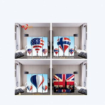 House living room screen hot air balloon printing canvas double sides divider