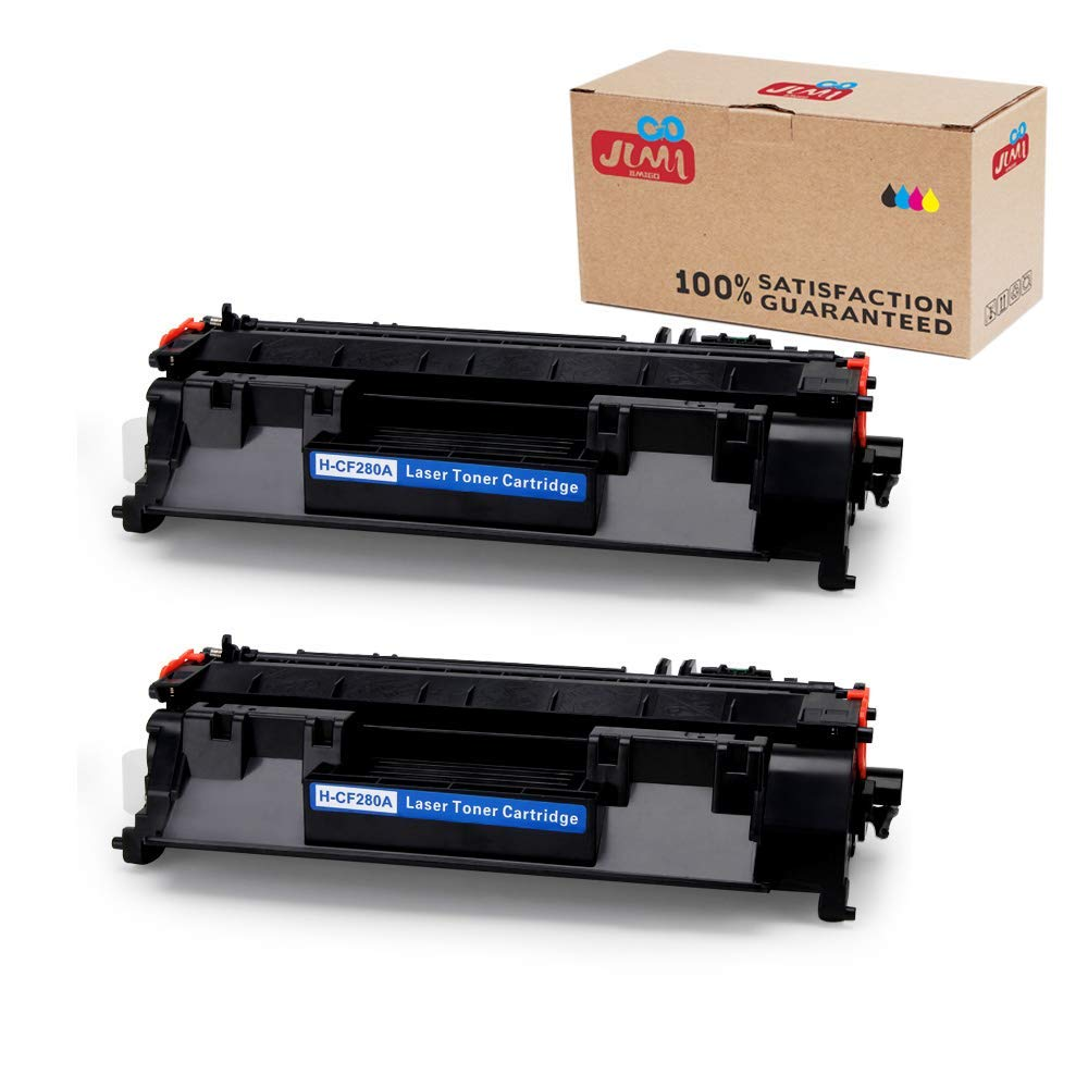 JIMIGO 2 Black 80A CF280A Compatible Toner Cartridges Replacement for HP 80A CF280A, Work with HP LaserJet Pro 400 M401n, 400 M401dn, 400 M401dne, 400 M401dw, 400 M401d, 400 MFP M425dn, 400 MFP M425dw