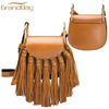 2016 guangzhou custom-made tassels party handbags shoulder bag high quality genuine leather mini bag for women with long strip