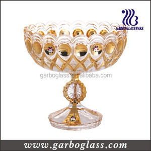 HOT SELL gold plated dinnerware set tempered glass art bowl mini glass bowl