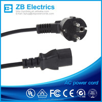 Flat lamp cord extension cord with 2 round pin plug