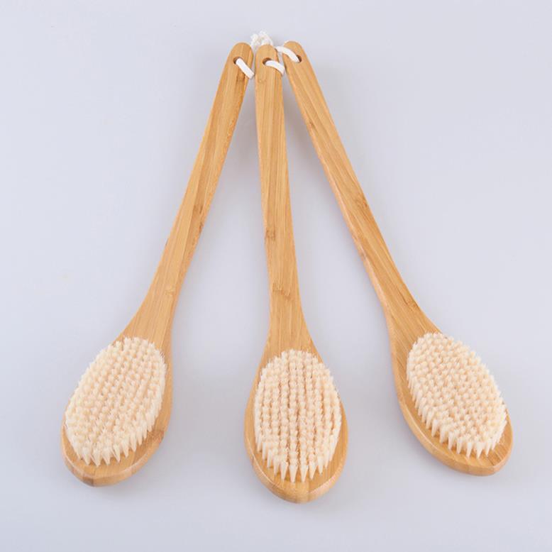 Factory Directly Sell ionic body brush horse cactus bristle brush bamboo massager bath brush long handle