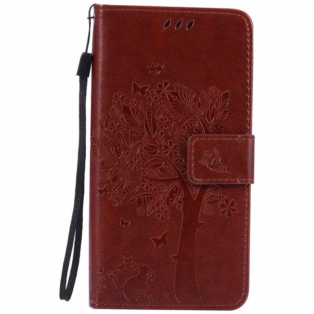 For Huawei P9 / EVA-L09, EVA-L19, EVA-L29 Case, Ougger Tree Cat Printing Wallet Cover Card Slot Premium PU Leather Flip Case Magnetic Bumper Pouch Holster Stand Silicone with Soft TPU Shell (Coffee)