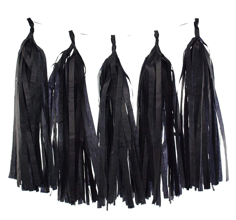 Garland, Black Tissue Paper Tassels (Set of 5) - Black Tassel, Photography Backdrops, Graduation Party Decorations, Wedding Banner