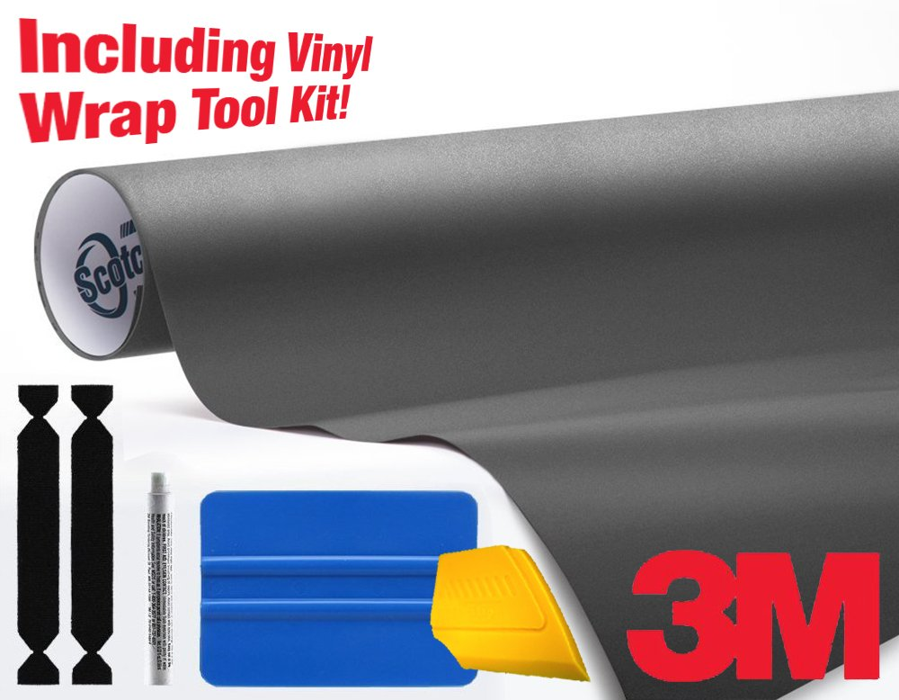 3M 1080 Matte Metallic Charcoal Air-Release Vinyl Wrap Roll Including Toolkit (2ft x 5ft)