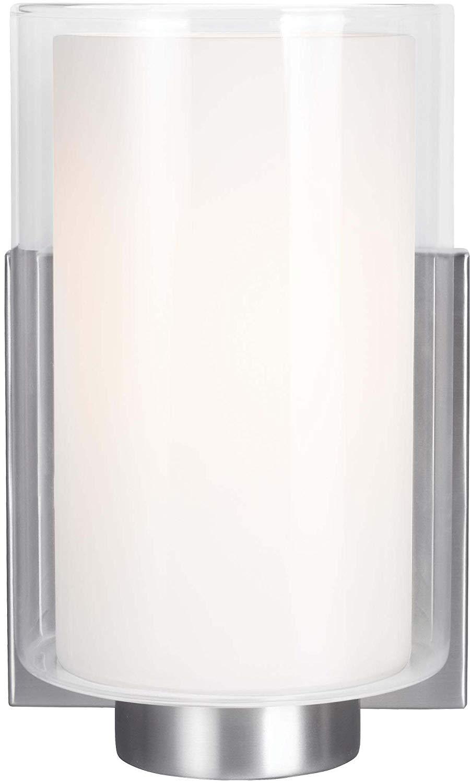 "Feiss VS22601SN Bergin Glass Wall Sconce Lighting, Satin Nickel, 1-Light (5""W x 8""H) 75watts"