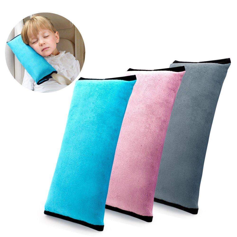 KATEVO Car Belt Pillow, Pack of 3, 3 Color Seat Belt Pillow - Plush Soft Auto Seatbelt Strap Cushion Pillow for Kids, Toddlers, Children Headrest Neck Support, Adjustable Vehicle Shoulder Cover Pads