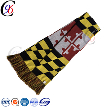 Chengxing custom wholesale cheap top quality woven jacquard pattern knitted football soccer fan crocheted infinity scarf