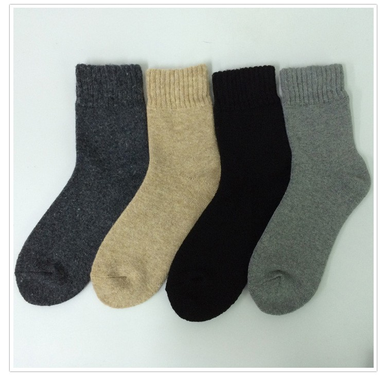 Custom wholesale special mixed wool socks men with full terry