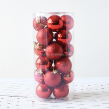 Dropshipping 24 PCS 4cm Plating Plastic Christmas Tree Decorations Hanging String Ball