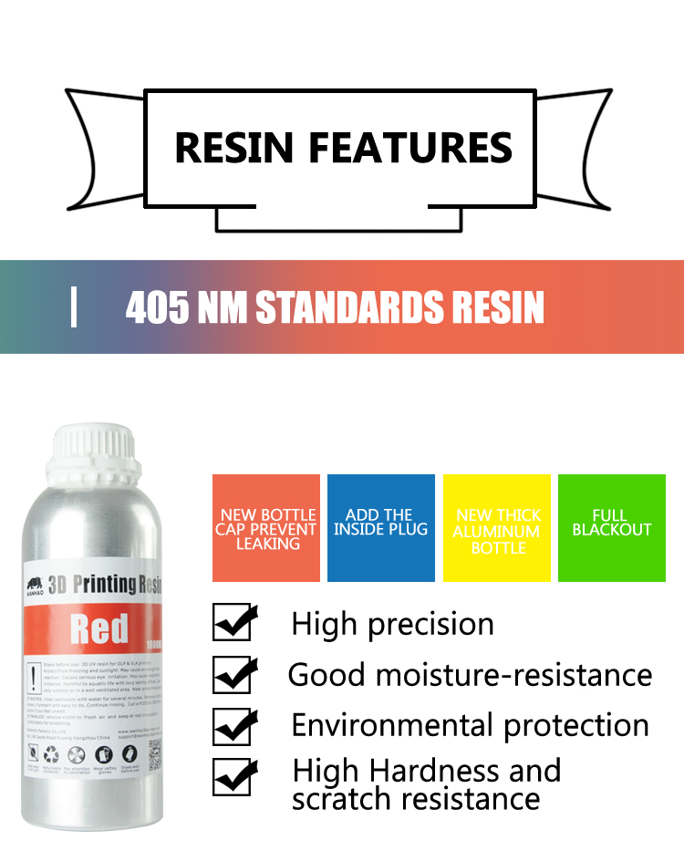 1000 ML multicolor Water Washable Resin for WANHAO DUPLICATOR 7 3D PRINTING  white, View 3D printer resin, WANHAO Product Details from Jinhua Wanhao