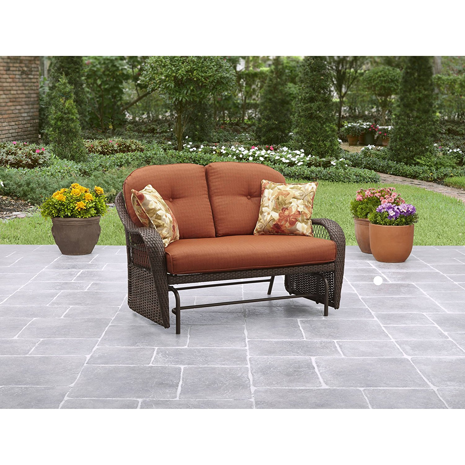 Get quotations · stylish outdoor patio glider sturdy and rust resistant steel frame comfortable and durable made of all