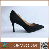 Guangzhou black suede ladies high heel shoes genuine leather insole dress shoes