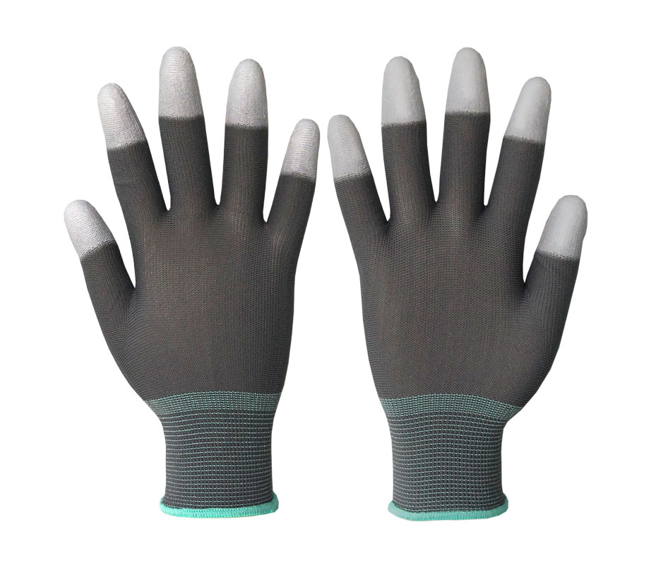 13 gauge nylon knitted gloves coated with PU coated on TOP FINGERS protective gloves cheap gloves