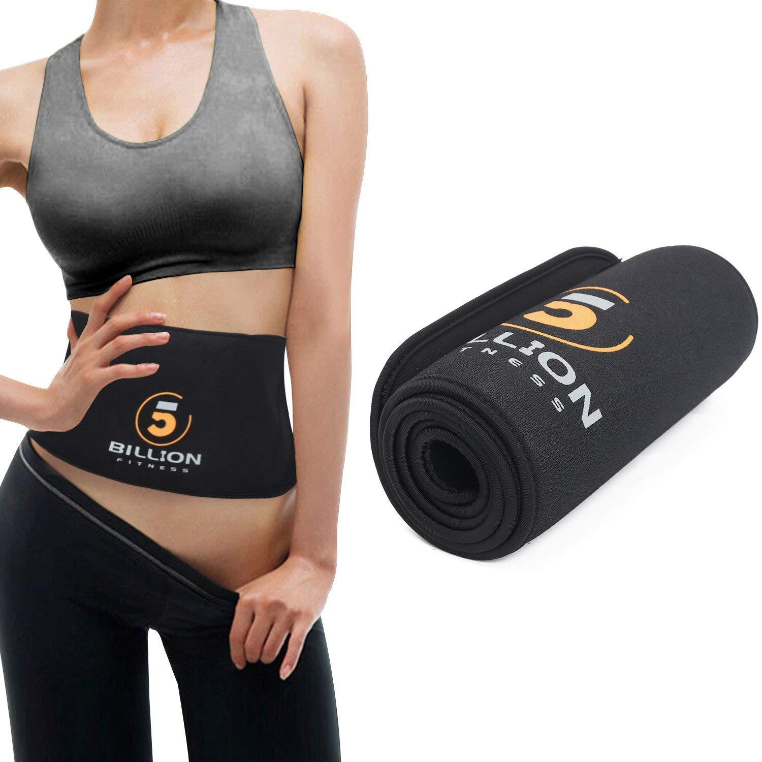 5BILLION Sports Waist Trimmer Sweet Sweat Waist Trimmer Adjustable Sweat Belt Back Support Belt Weight Loss Belt for Men & Women