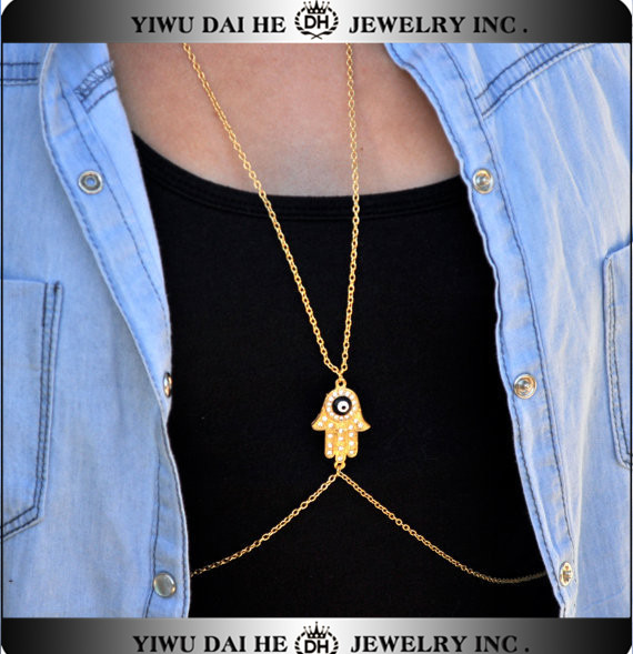 Women Hamsa Hand Evil Eye Crossover Harness Waist Belly Body Chain Necklace
