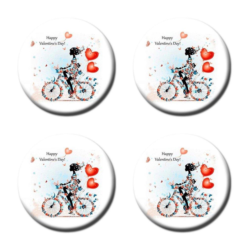 Flower Girl Flower Bike Custom Round Coasters Cup Mat Stylish Durable Cork Pad Antiskid Mat Stain Resistance
