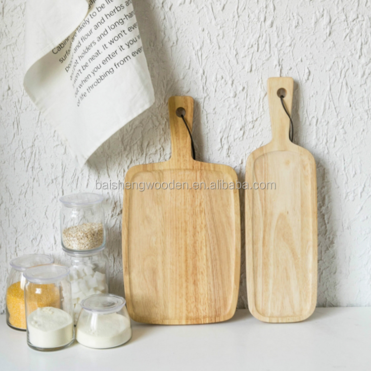 Household items rubber wood knives accessories cheese cutting board set with handle