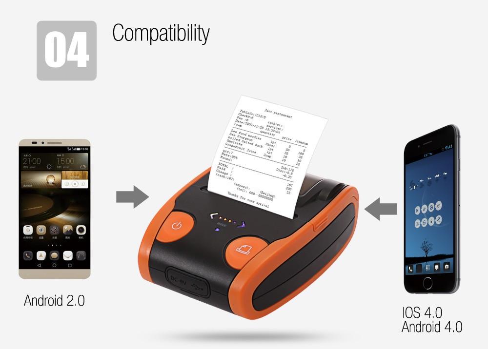 Máy In Nhãn Nhiệt Android Bluetooth 58 Mm