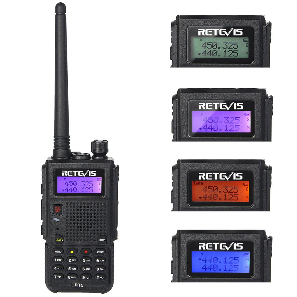 Retevis RT5 136-174 + 400-520MHz 7W 128 Canal Double Bande UHF VHF Bidirectionnel radio