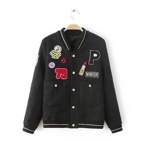 C00041D European styles fashion embroidery black baseball jackets for ladies