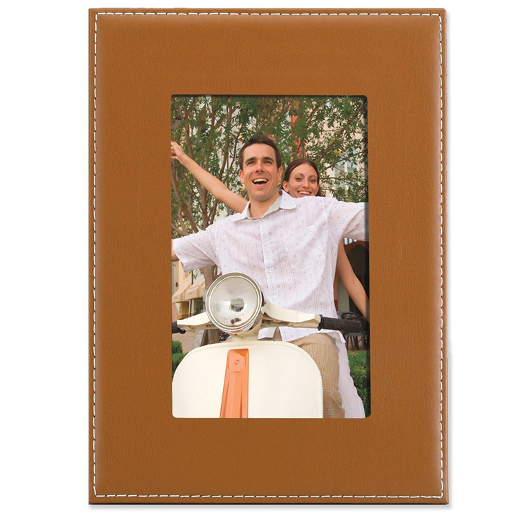 Hot Sale Clastic Design Camel Leather 4 x 6 Photo Frame with Family Pictures