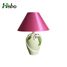 Hot sale modern red shade ceramic table lamp white porcelain lamps with Lilium brownii decoration