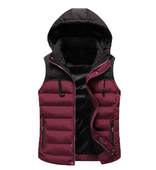 ultra light unisex stylish wine red men puffer vest with hood