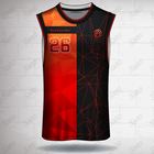 wholesale OEM custom made design black red high quality mesh basketball jersey high quality basketball jersey size 4XL