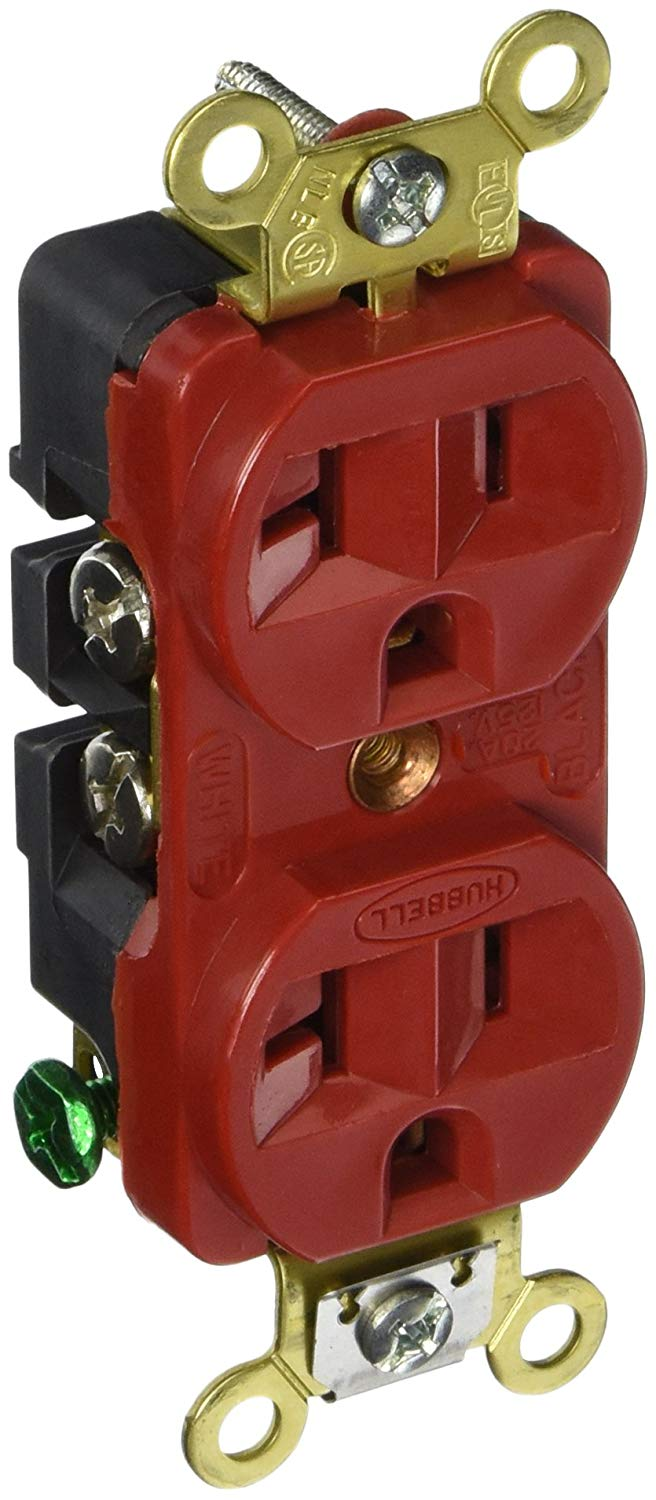 Hubbell HBL5352R Duplex Receptacle, Industrial Grade, 20 amp, 125V, 5-20R, Red