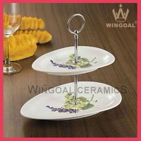 ceramic 2 tiers cake stand with decal