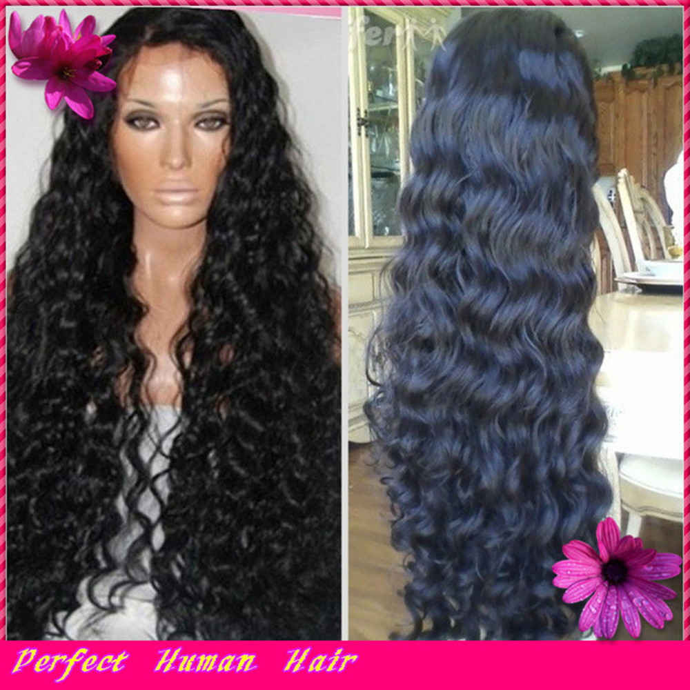 Fashion Black Women curly glueless full lace human hair wigs virgin brazilian human hair lace front