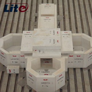 Best sale refractory fused cast AZS block for side wall of float glass kiln