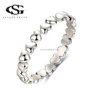 Fine Jewelry rings 925 Sterling Silver Polished Heart Women Wedding Ring