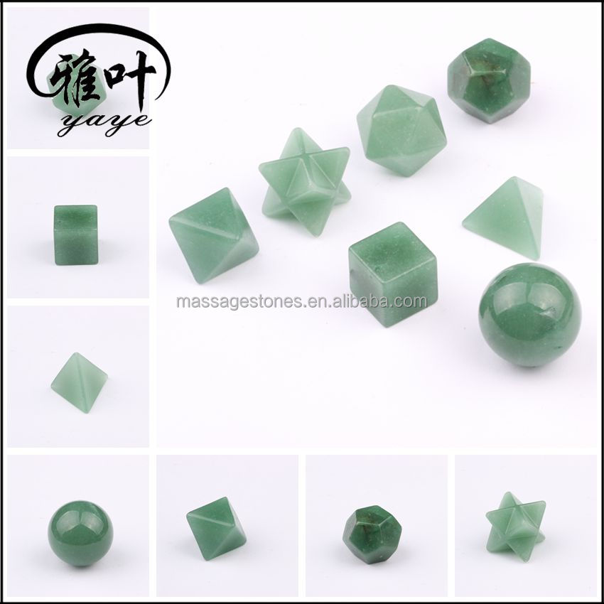 Wholesale Crystal Platonic Solids Set Green Aventurine Healing Sacred Geometry Set for Gift