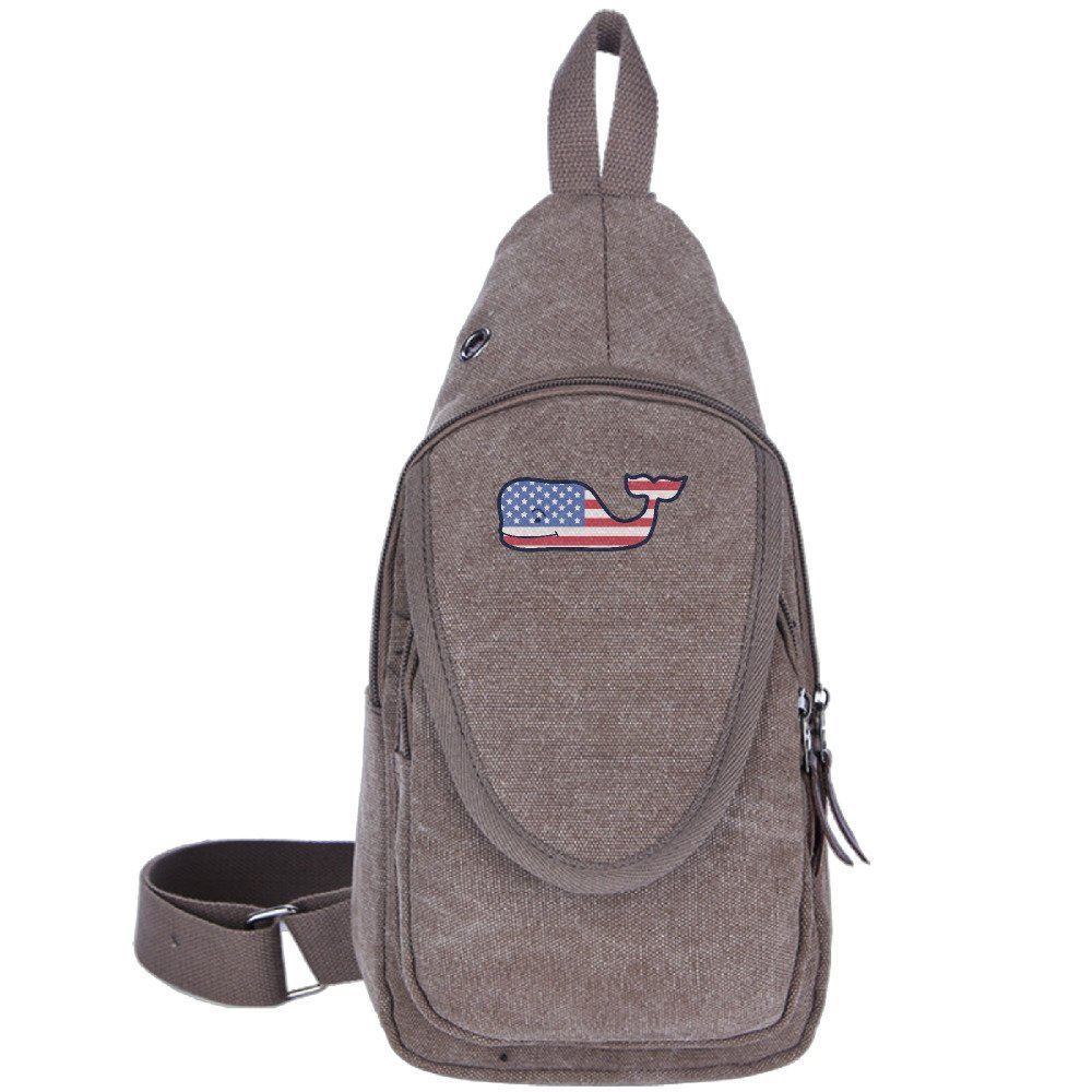 USA Flag Whale Logo Unisex Outdoor Backpack Crossbody Sling Shoulder Chest Bags