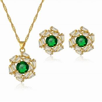 Luxury Wholesale Wedding Accessories Female New NecklaceStud Earring Imitation Emerald Hot Wheels Jewelry Sets Fashion