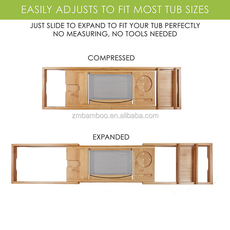 Expandable Bamboo Bathtub Caddy - Adjustable Wooden Serving Tray And ...
