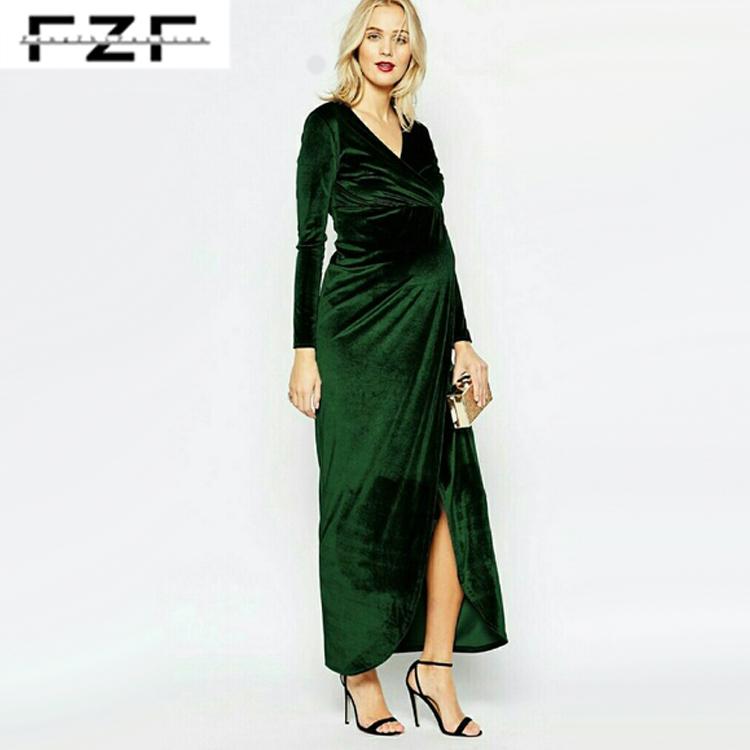 20d9570bfcd54 Spring Winter Wear Green Velvet Wrap Front Long Maxi Maternity Dress ...