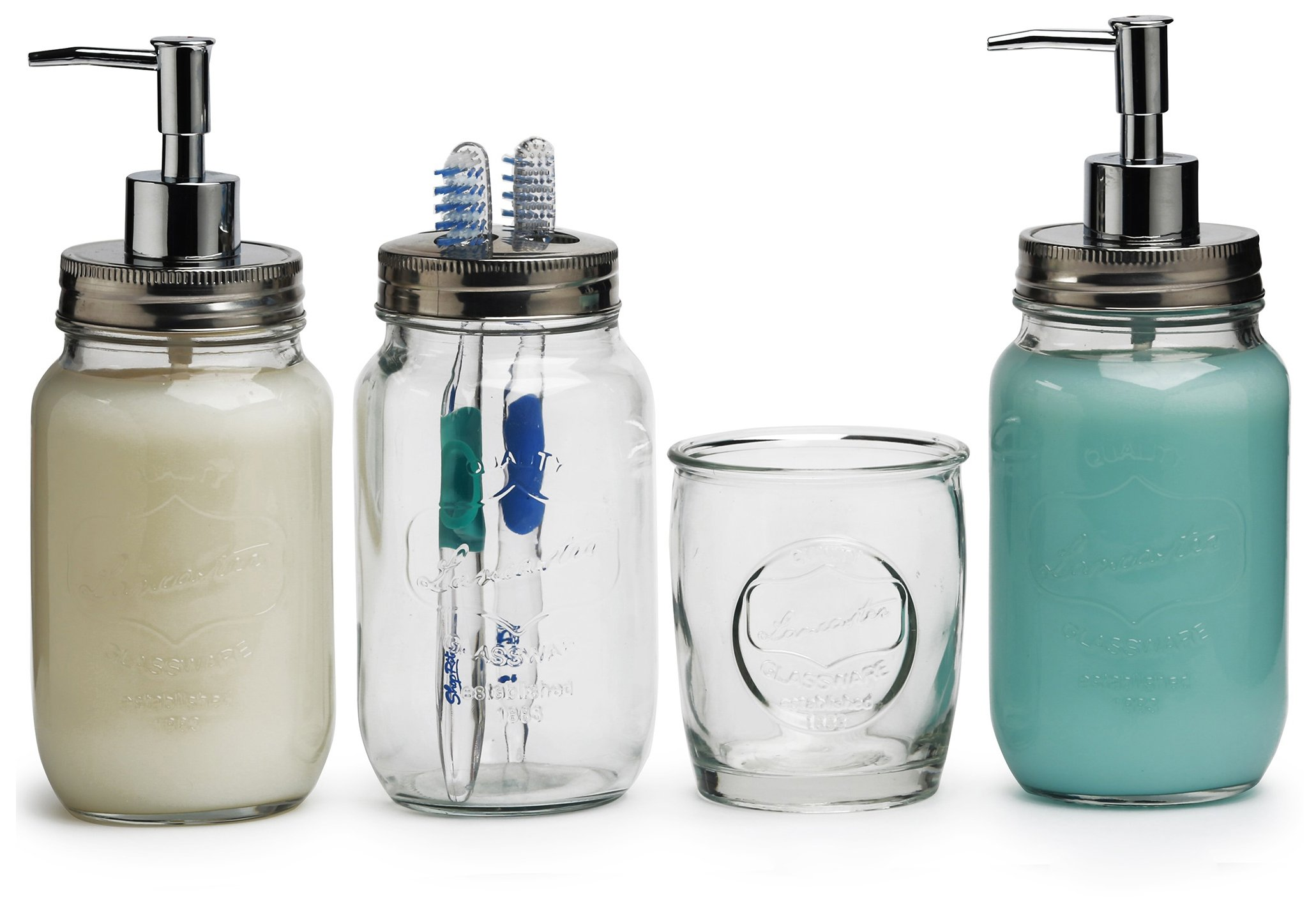 Circleware Lancaster Set of 4 Glass Bathroom Accessories, 24 ounce Mason Jar Soap Pump Dispenser Bottle, 24oz. Lotion Dispenser, Toothbrush Holder and Matching 13 oz. Drinking Glass