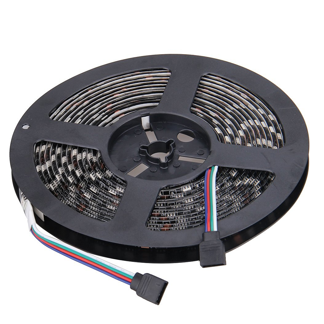 NEWSTYLE Black PCB Celebration LED Strip Lighting 16.4ft 5M Waterproof Rope Lights 300 LEDs 5050 SMD RGB Multicolored