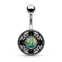 316L Surgical Steel Vintage Shield Jet Crystal jewelled Belly Ring