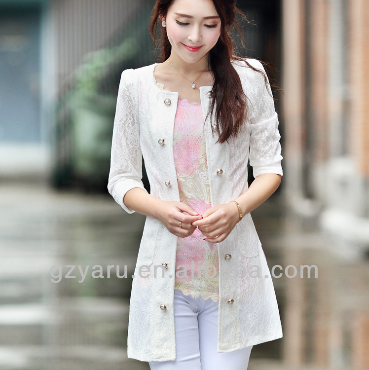White Lace Fashion Ladies Long Summer Coats - Buy Ladies Long ... 357d143df7
