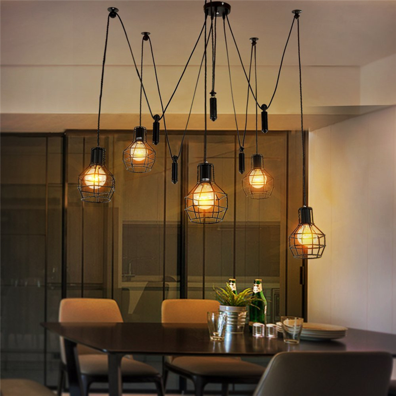 europe vintage loft industrial style iron cages pendant lights bar counter loft wire lamp home. Black Bedroom Furniture Sets. Home Design Ideas