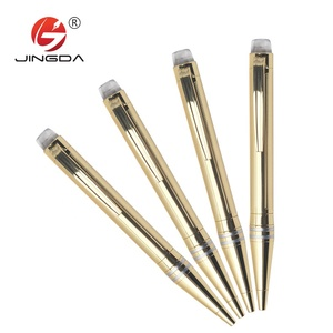wedding gift white mix gold high quality metal twist roller ball pen