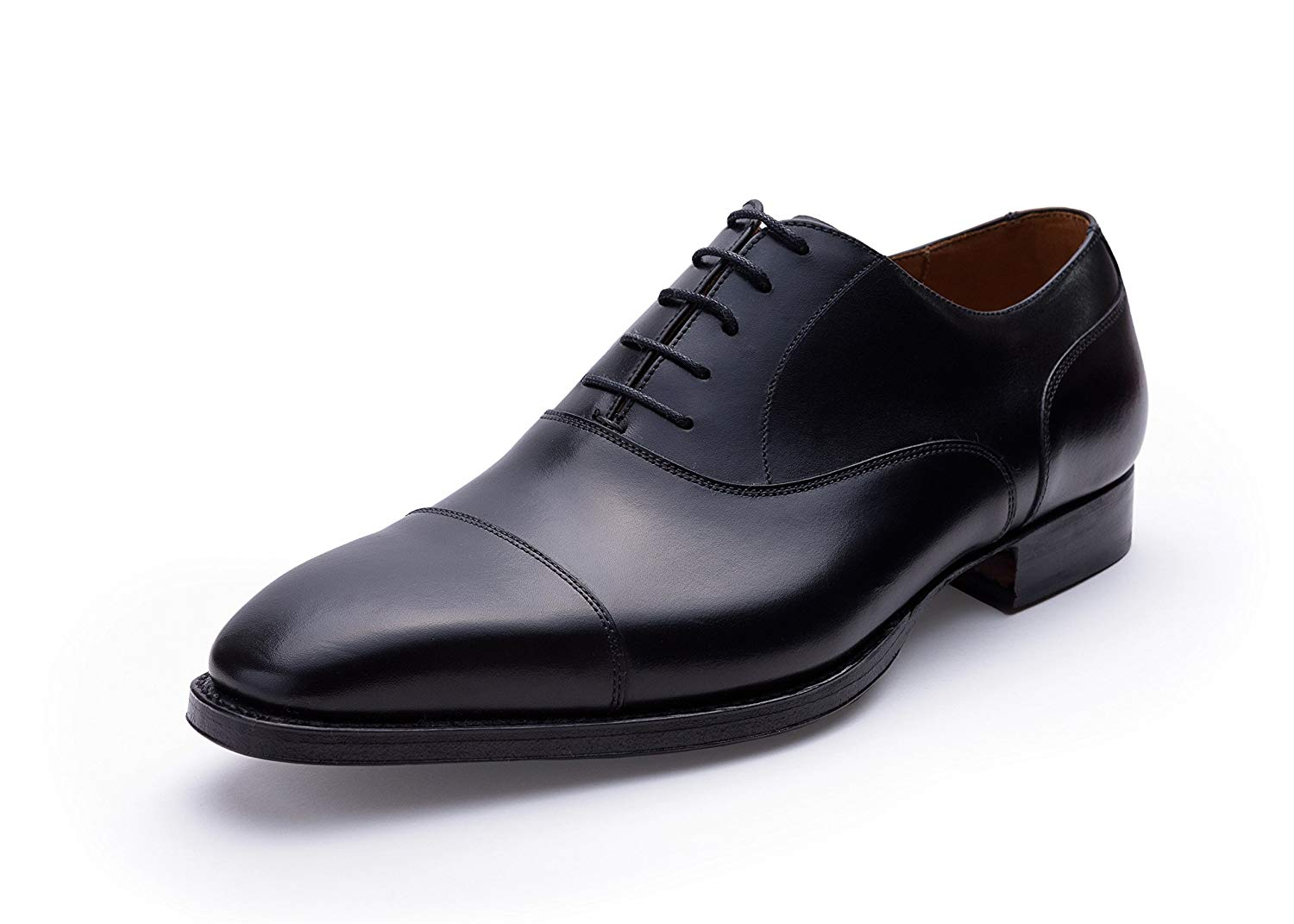 bc89f0eb087c Get Quotations · Andrew Lock Handgrade Black Captoe Oxford Goodyear Welted  Shoes