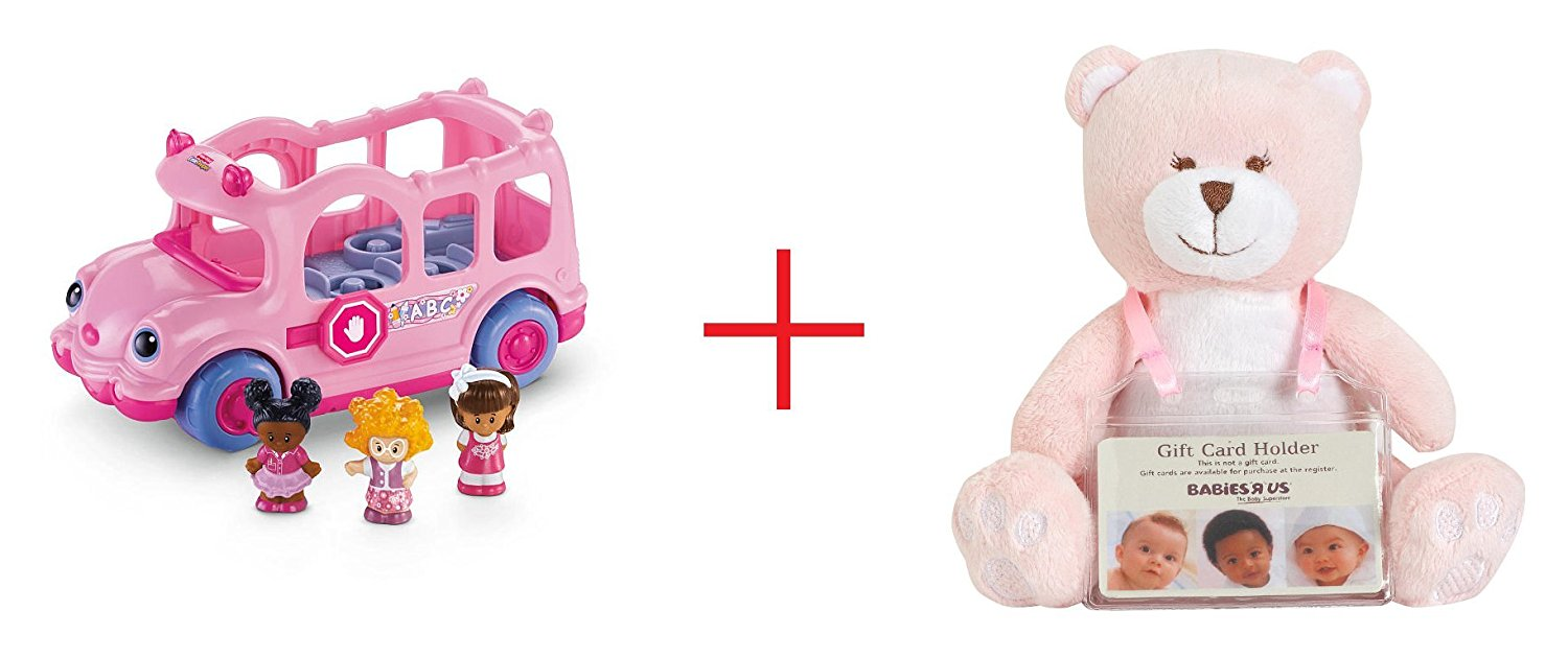 Fisher-Price Little People Lil' Movers School Bus and Babies R Us Plush Baby Bear With Gift Card Holder - Pink - 6.5 Inch - Bundle