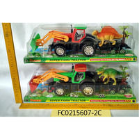 Kids friction farm tractors toys with dinasour and trees FC0215607-2C