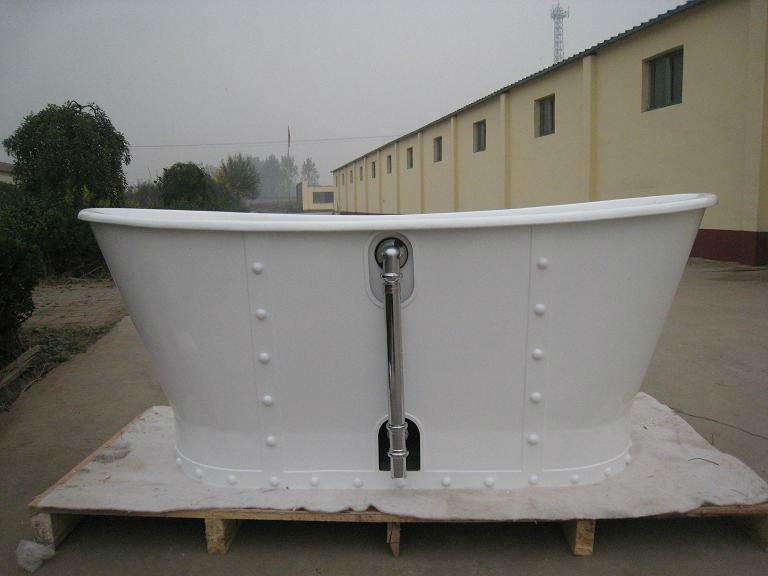White Freestanding Tub,Beautiful Shine Cast Iron Bathtub With Iron ...
